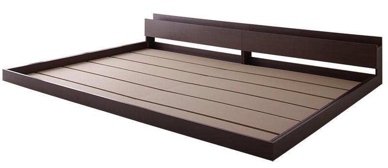 棚・コンセント・ライト付き大型モダンフロア連結ベッド 〔Equale〕エクアーレ 〔ベッドフレームのみ・マットレスなし〕 クイーン(SS×2) 〔フレーム色〕ダークブラウン【代引不可】