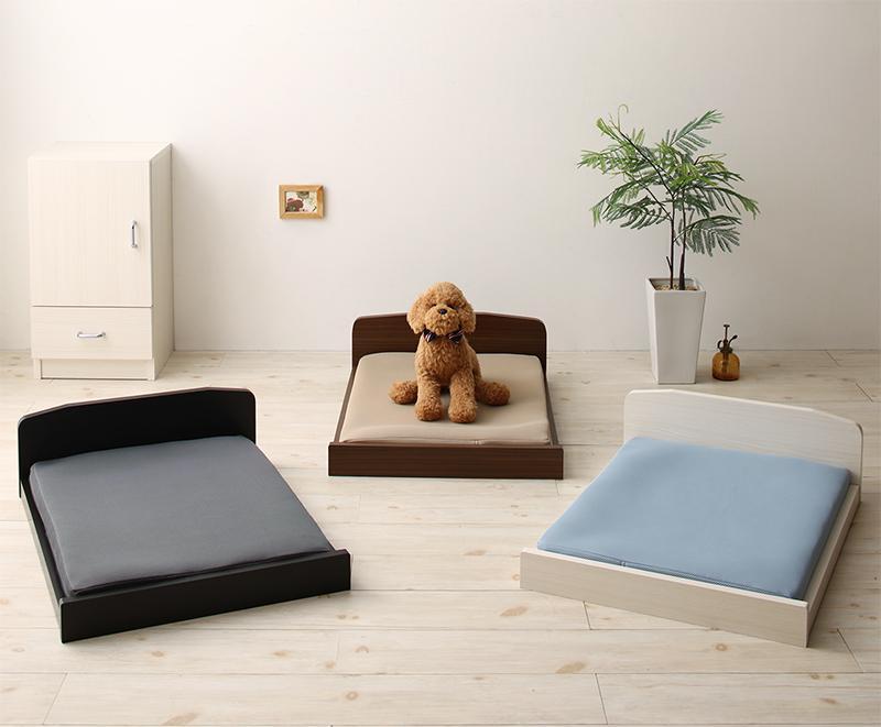 【送料無料】ミニチュアサイズが可愛い木製ペットベッド 〔Catnel〕キャトネル 〔マットレス付き〕 〔フレーム色〕ホワイト 〔マットレス色〕ライトブルー【代引不可】