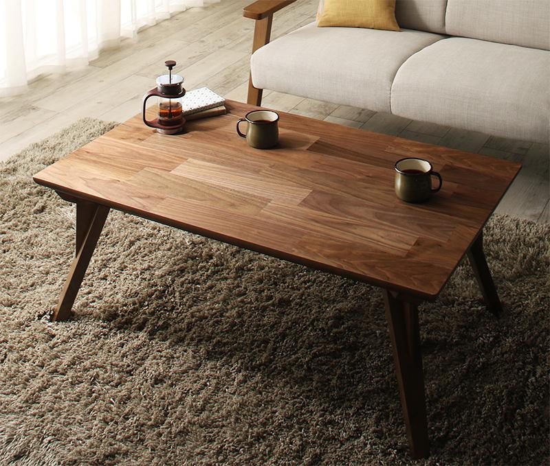 【送料無料】天然木ウォールナット リビングこたつテーブル 〔Chiesa〕キエーザ 長方形(65×105cm) ウォールナットブラウン【代引不可】