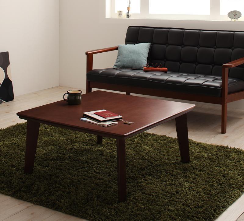 【送料無料】天然木カスタムデザインこたつテーブル 〔Sniff〕スニフ 角脚 正方形(75×75cm) ブラウン【代引不可】