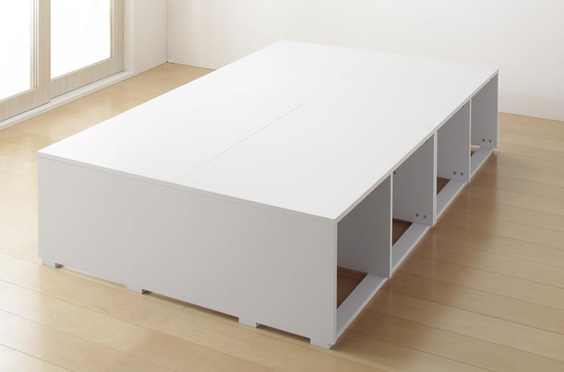 布団で寝られる 大容量収納ベッド 〔Semper〕センペール 〔ベッドフレームのみ・マットレスなし〕 引き出しなし ハイタイプ セミダブル 〔フレーム色〕ホワイト【代引不可】