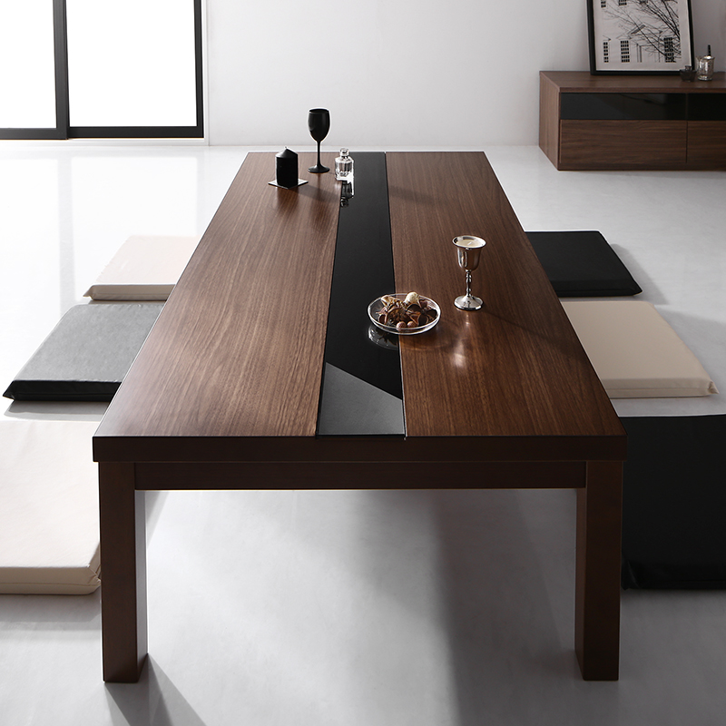 ワイドサイズ アーバンモダンデザインこたつテーブル 〔GWILT-WIDE〕グウィルトワイド 5尺長方形(80×150cm) ウォールナットブラウン×ブラック【代引不可】【北海道・沖縄・離島配送不可】