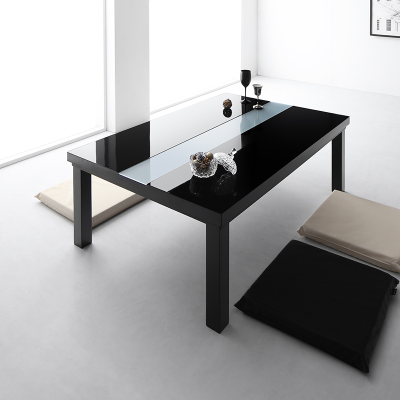 【送料無料】ワイドサイズ 鏡面仕上げ アーバンモダンデザインこたつテーブル 〔VADIT-WIDE〕バディットワイド 4尺長方形(80×120cm) ダブルブラック【代引不可】