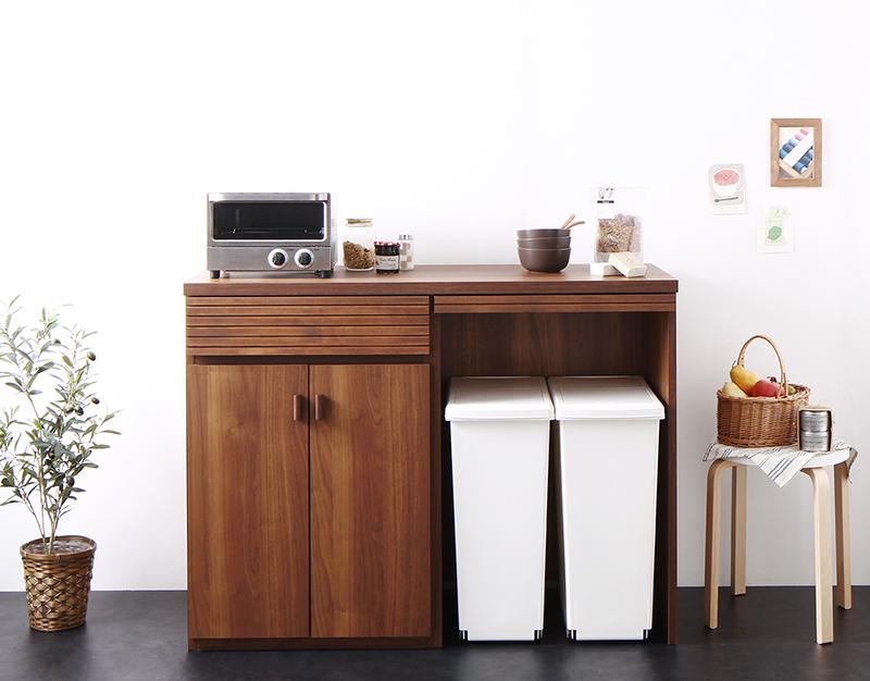 【送料無料】日本製 完成品 ごみ箱収納スペース付きキッチンカウンター 〔Contrea〕コントレア シェルフパネルなし ウォルナットブラウン【代引不可】