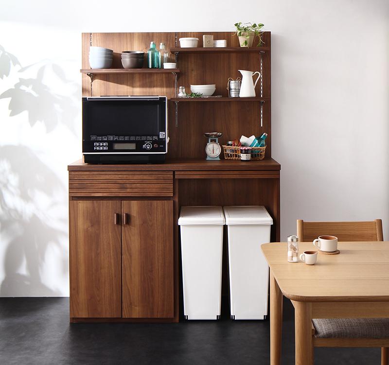 【送料無料】日本製 完成品 ごみ箱収納スペース付きキッチンカウンター 〔Contrea〕コントレア 幅120シェルフパネル付き ウォルナットブラウン【代引不可】