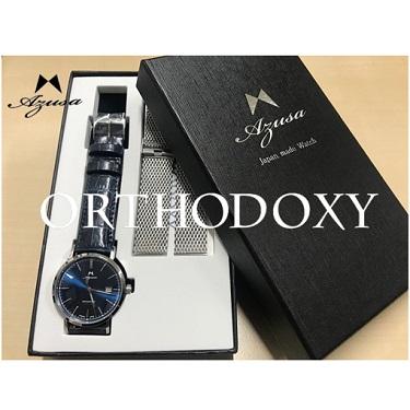 腕時計 Azusa ORTHODOXY アズサ オーソドキシー ブルー カーフベルト×メッシュベルトセット メカニカル 自動巻 日本製 オリジナル腕時計 メンズ【送料無料】