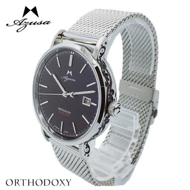 腕時計 Azusa ORTHODOXY アズサ オーソドキシー 彫刻モデル ブラック メカニカル 自動巻 日本製 オリジナル腕時計 メンズ【送料無料】