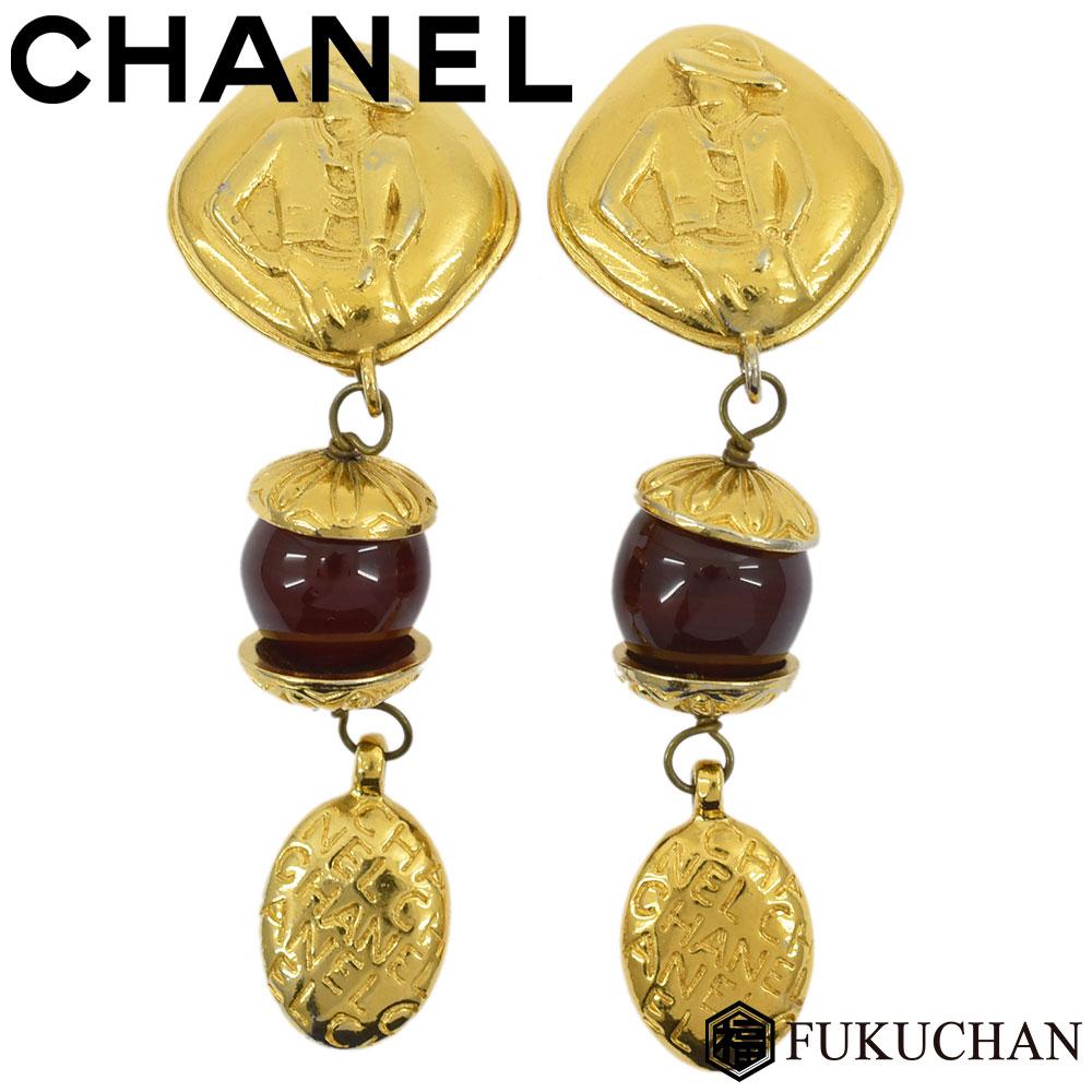 【CHANEL/シャネル】ココシャネル ロゴ スイング イヤリング ゴールド×レッド系 GP×プラスチック 【中古】