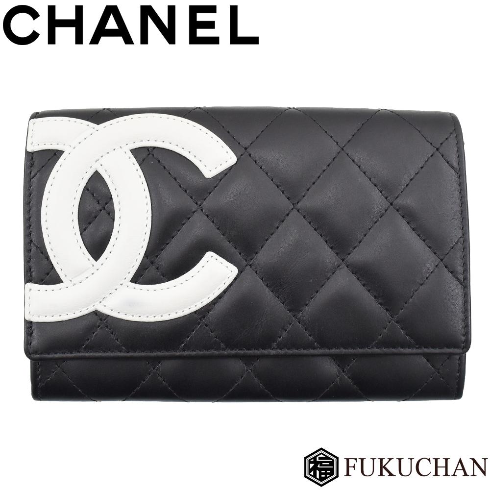 【CHANEL/シャネル】カンボンライン 二つ折り財布 ブラック×ホワイト ピンク×シルバー金具 A26722 【中古】≪送料無料≫