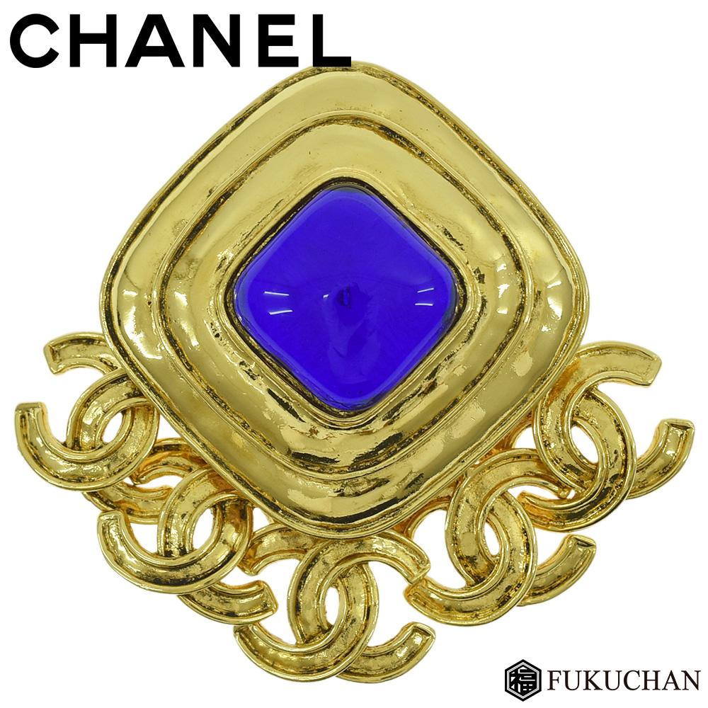 【CHANEL/シャネル】ココマーク カラーストーン ブローチ 94P ゴールド×ブルー 【中古】≪送料無料≫
