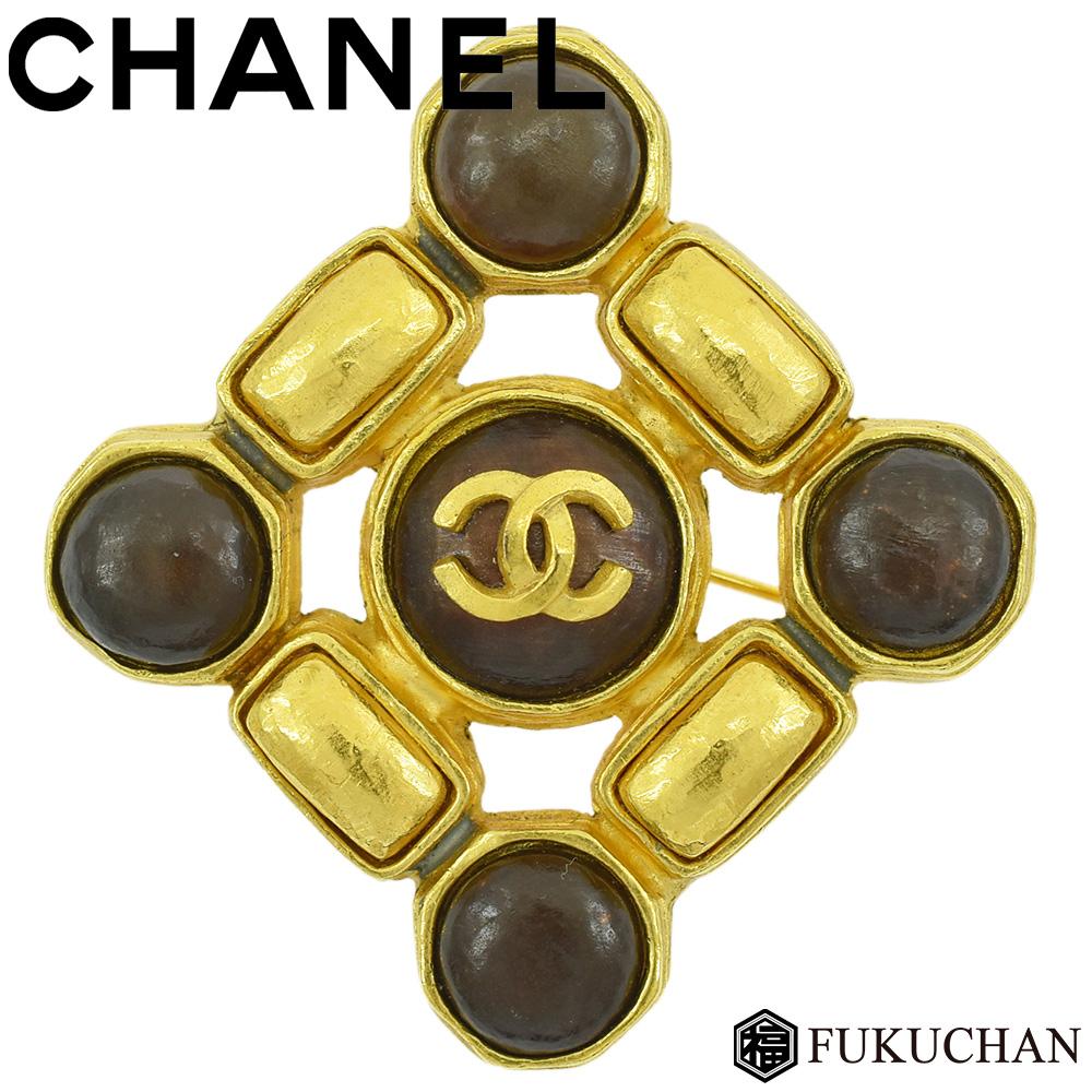【CHANEL/シャネル】ココマーク ブローチ ゴールド×ダークブラウン メッキ 97A 【中古】≪送料無料≫