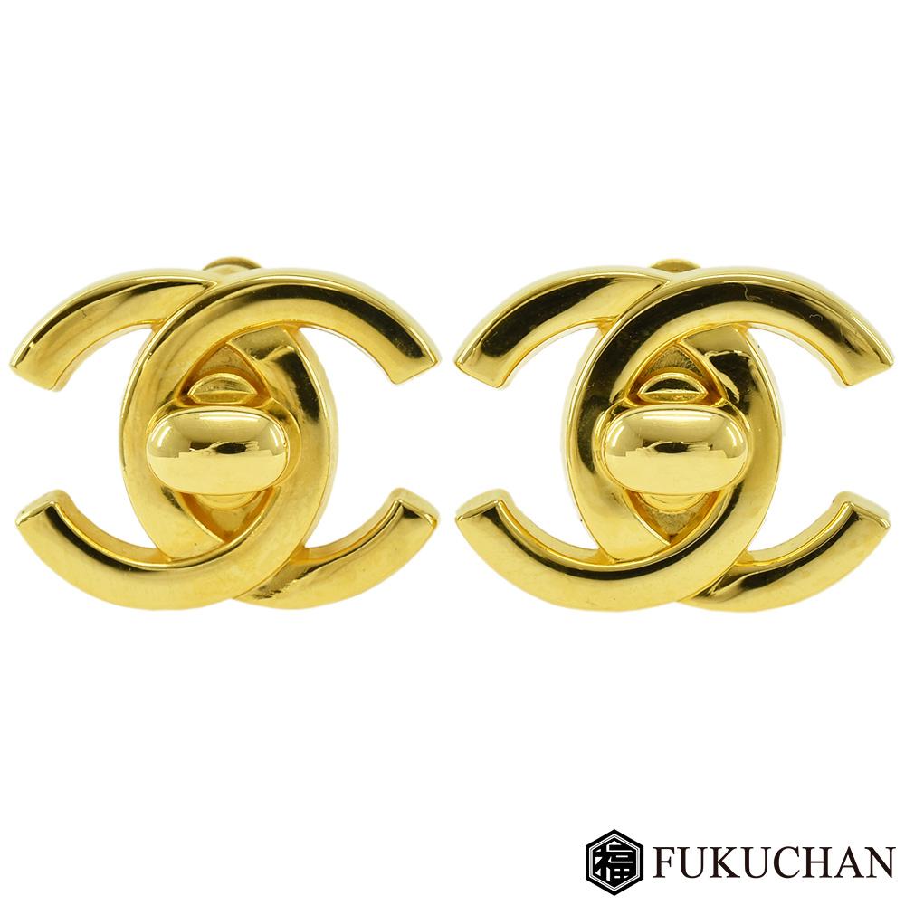【CHANEL/シャネル】ココマーク ターンロック イヤリング 96P ゴールド×GP 【中古】≪送料無料≫