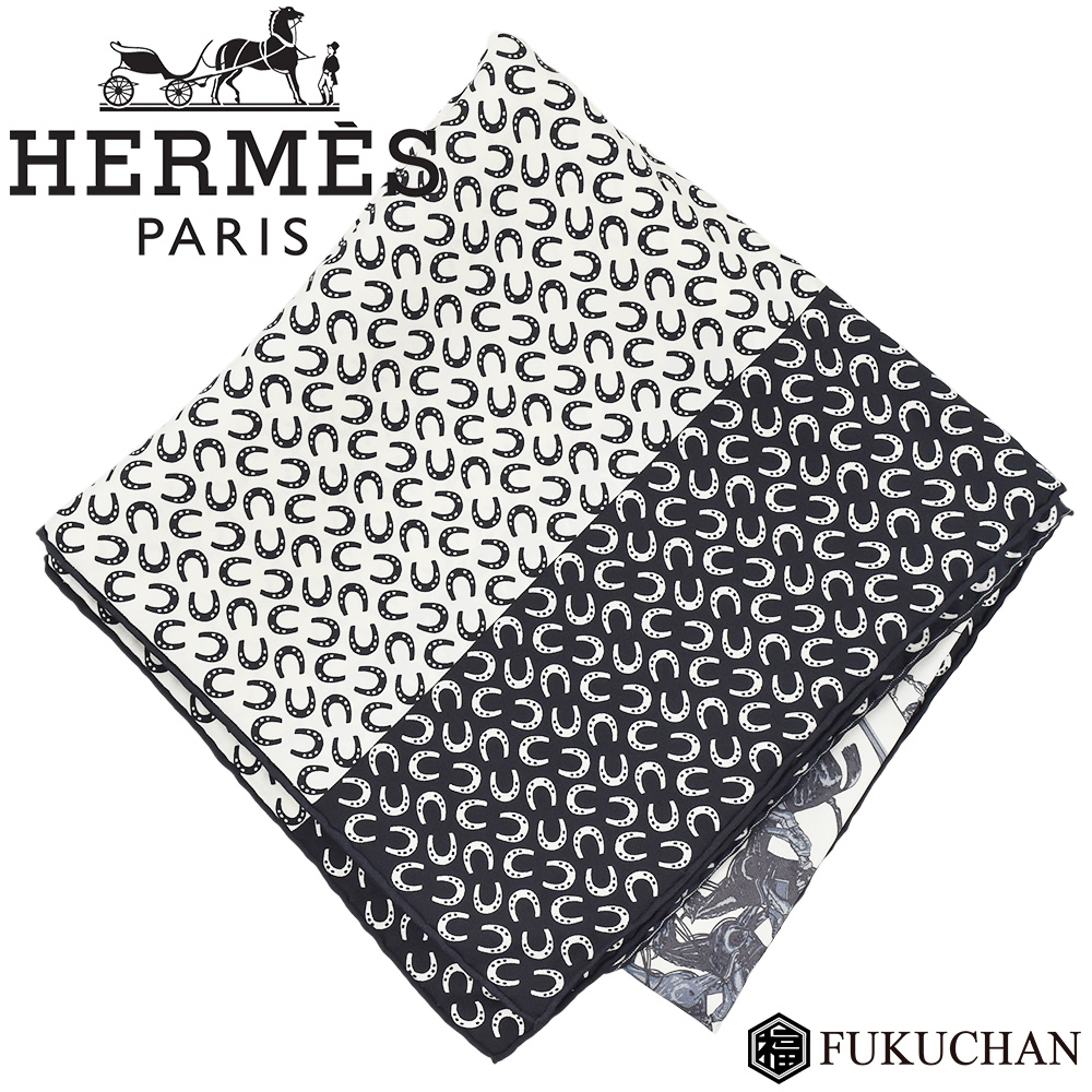 【HERMES/エルメス】カレ90/大判スカーフ A Cheval sur mon Carre (カレの馬に乗って) ブラック×ホワイト シルク100% 【中古】≪送料無料≫