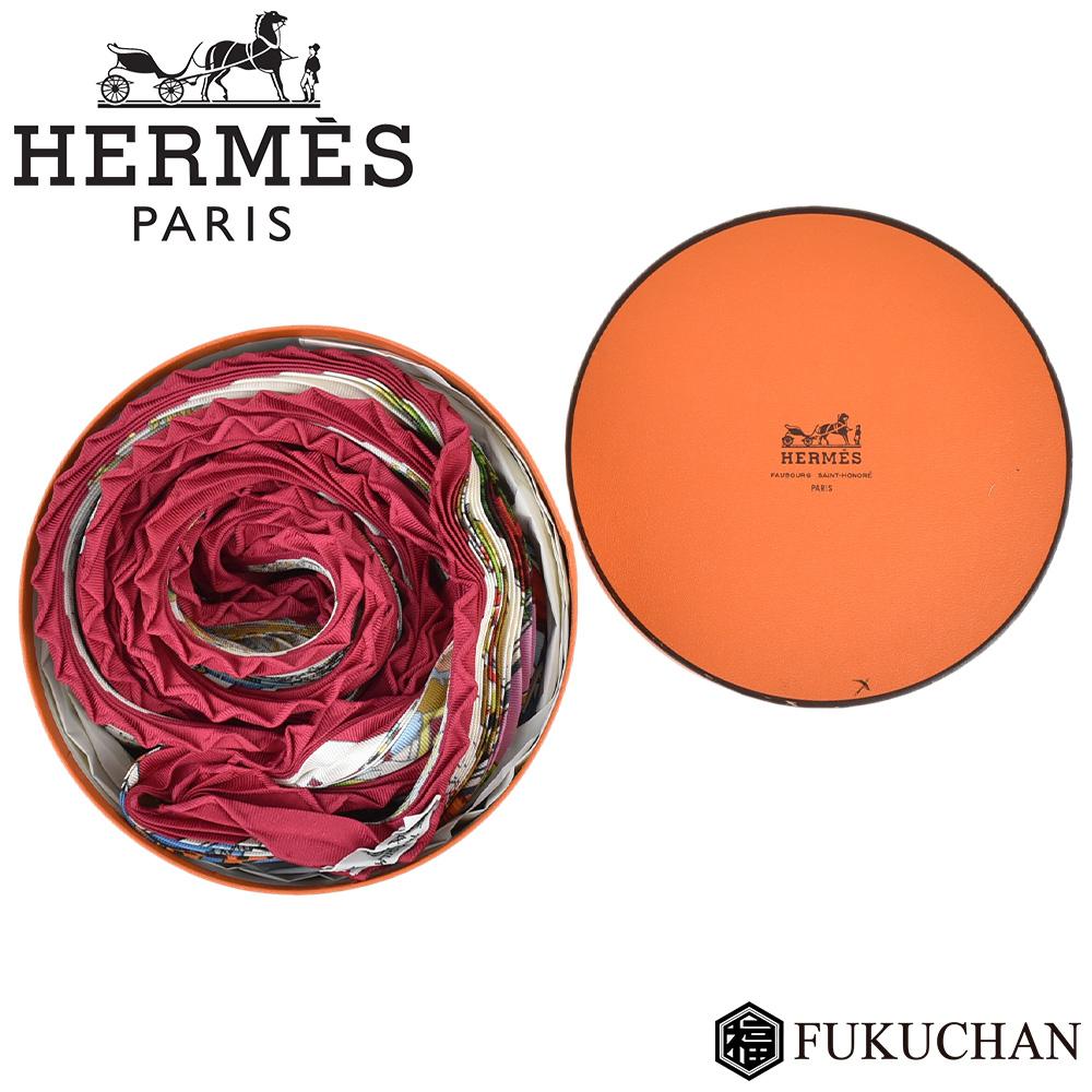 【HERMES/エルメス】カレ プリーツ スカーフ Les Ameriques COLOMBVS レッド×マルチカラー シルク100% 【中古】
