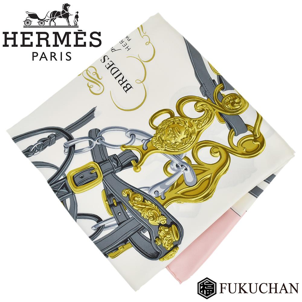 【HERMES/エルメス】カレ90/大判スカーフ BRIDES de GALA (式典用の馬勒) ピンク×ホワイトグレー×イエロー シルク100% 【中古】