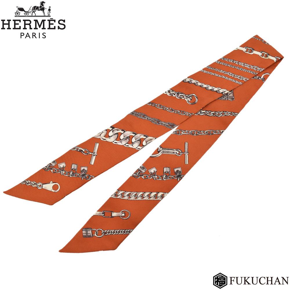 ◆ 13800 円 → 12000 円 ◆【HERMES/エルメス】TWILLY/ツイリー チェーンモチーフ ブラウン系×シルバー シルク100% 【中古】
