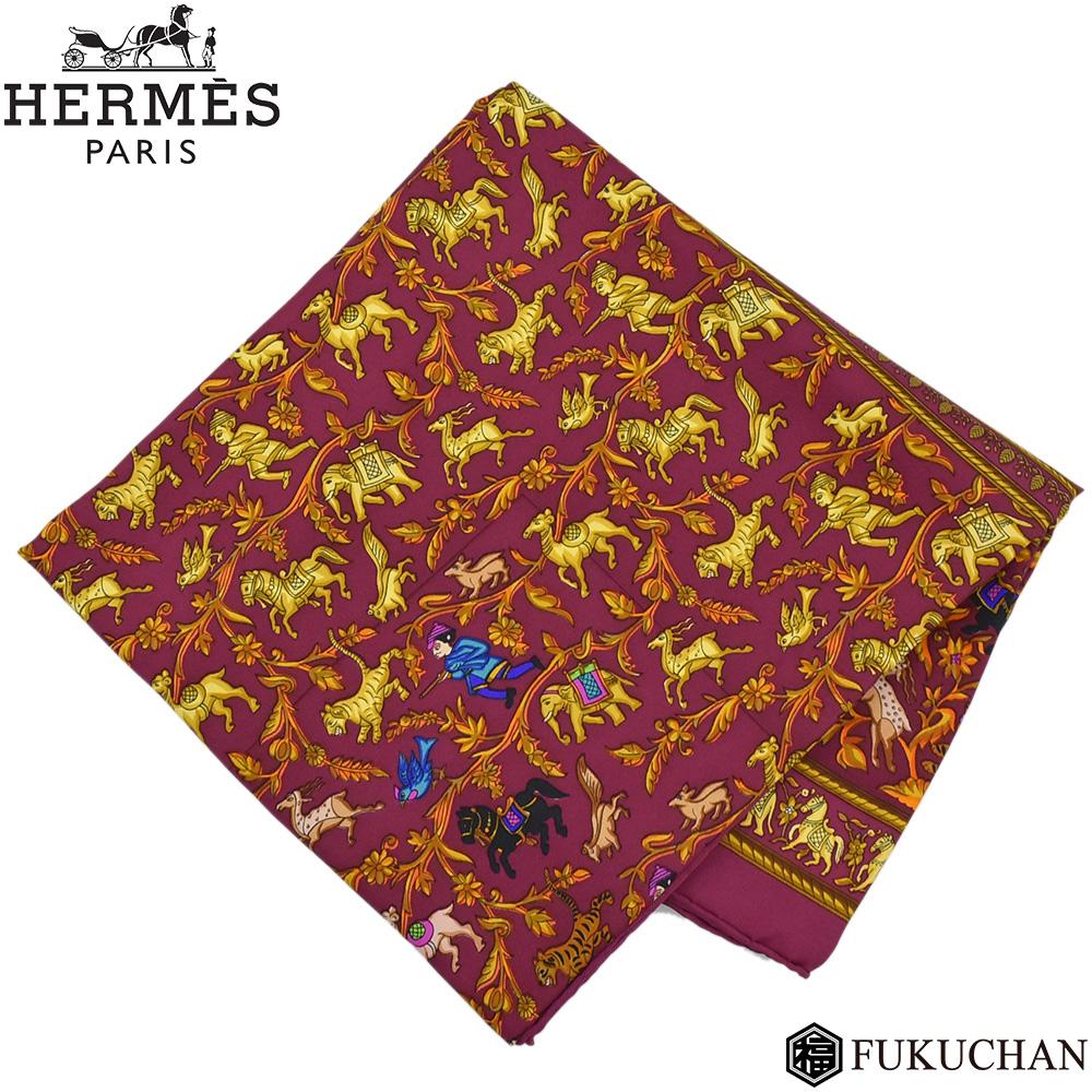 【HERMES/エルメス】カレ90/大判スカーフ CHASSE EN INDE(インドの狩猟) パープル系×ゴールド×マルチカラー シルク100% 【中古】