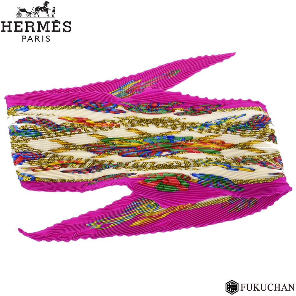 ◆15800円→12000円◆【HERMES/エルメス】カレ プリーツ スカーフ LES RUBANS DU CHEVAL(馬のリボン) シルク100% マゼンタ×ホワイト×マルチカラー 【中古】