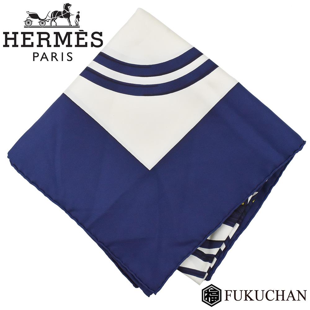 【HERMES/エルメス】カレ90/大判スカーフ BRIDES de GALA (式典用の馬勒) ネイビー×ホワイト×ゴールド シルク100% 【中古】