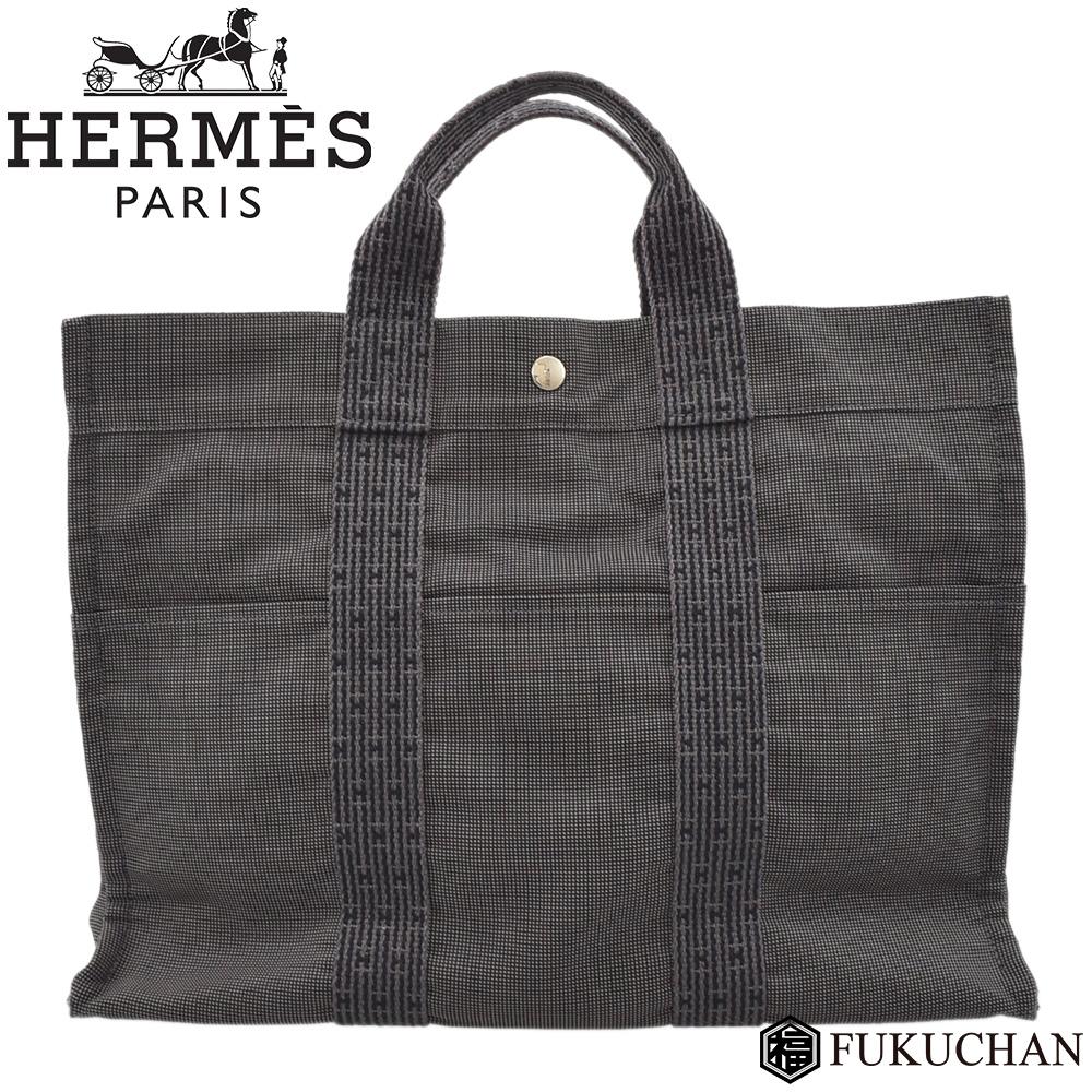 ◆28000円 → 26800円◆HERMES エルメス エールラインMM トートバッグ グレー×キャンバス 【中古】