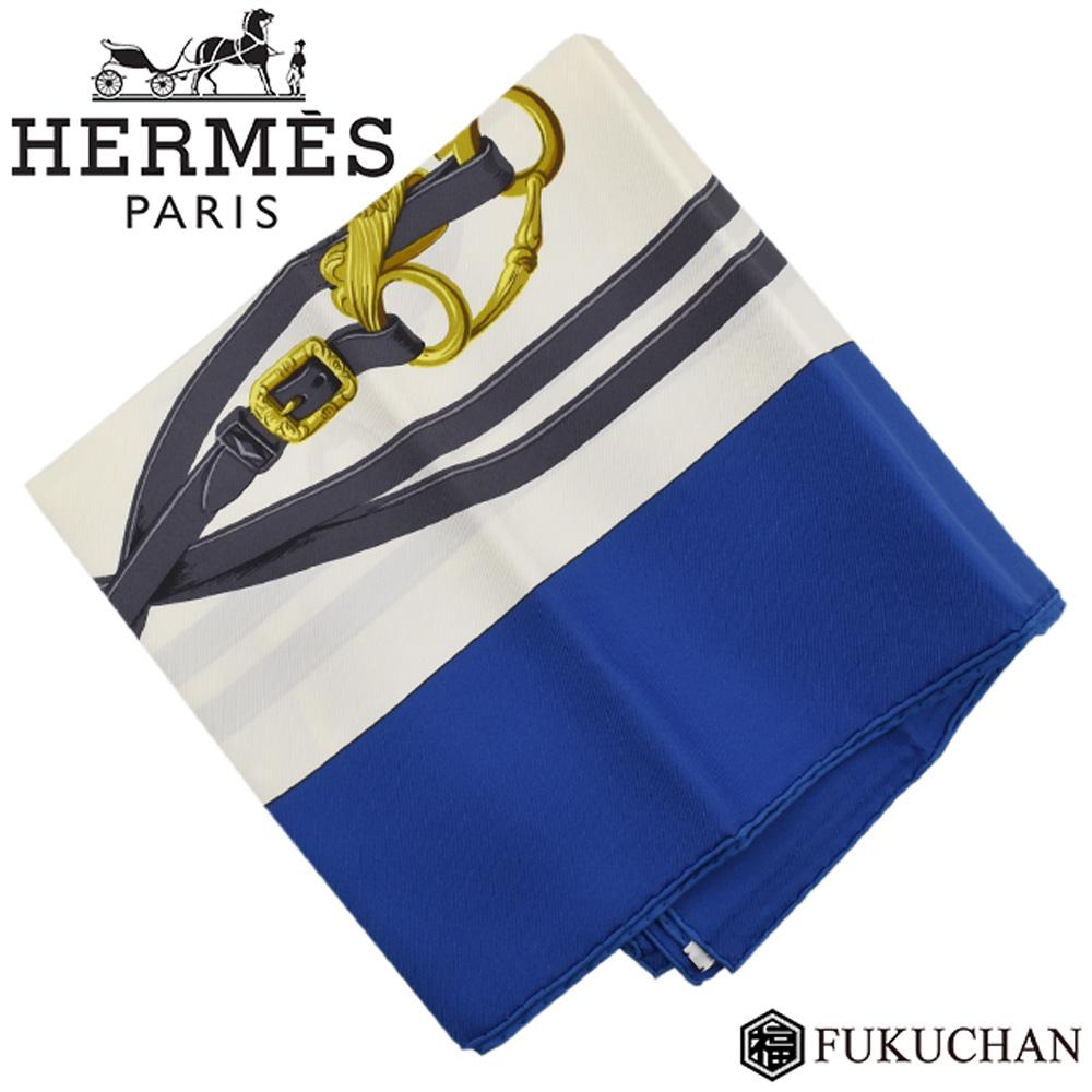 【HERMES/エルメス】カレ90/大判スカーフ BRIDES de GALA (式典用の馬勒) ブルー×ホワイト×ゴールド シルク100% 【中古】
