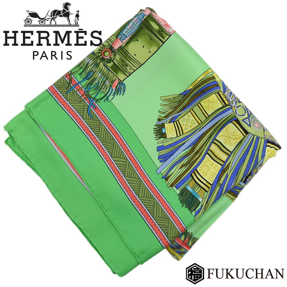 ◆14800円 → 12800円◆HERMES エルメス カレ90/大判スカーフ EUIRS DU DESERT(砂漠の首飾り) グリーン系×マルチカラー シルク100% 【中古】