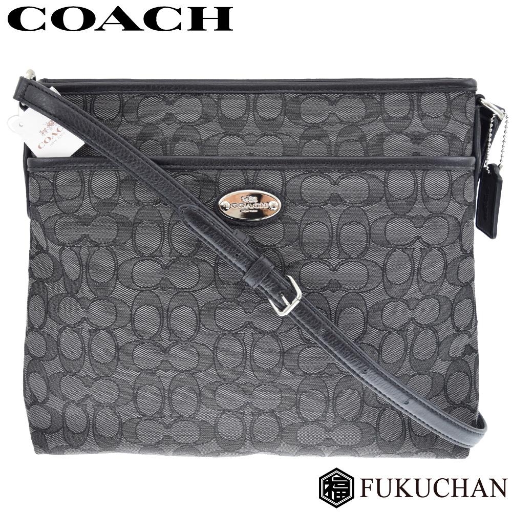 【COACH/コーチ】シグネチャー ファイルバッグショルダーバッグ キャンバス×レザー ブラック×シルバー金具 F36182 【中古】
