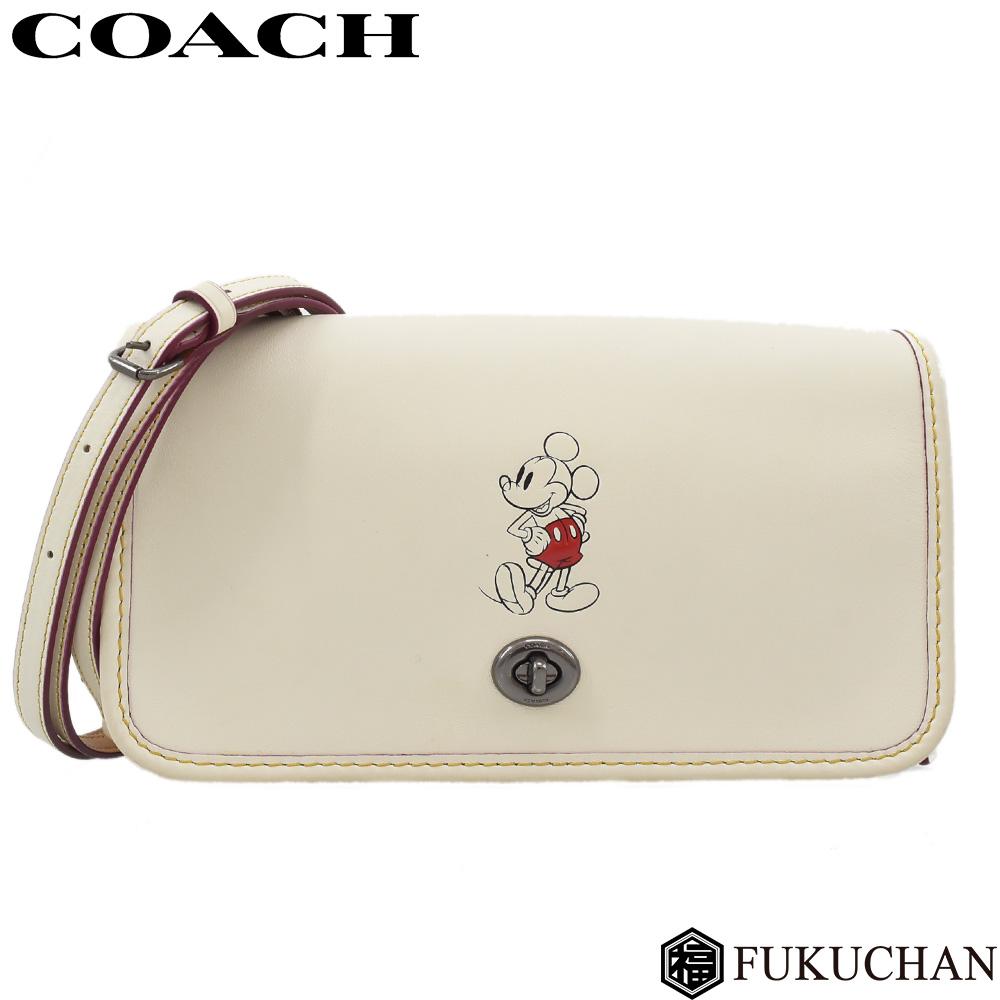 【COACH/コーチ】Disneyコラボ ミッキーマウス ペニー クロスボディ ショルダーバッグ レザー/QBCHK(チョーク) F59374 【中古】