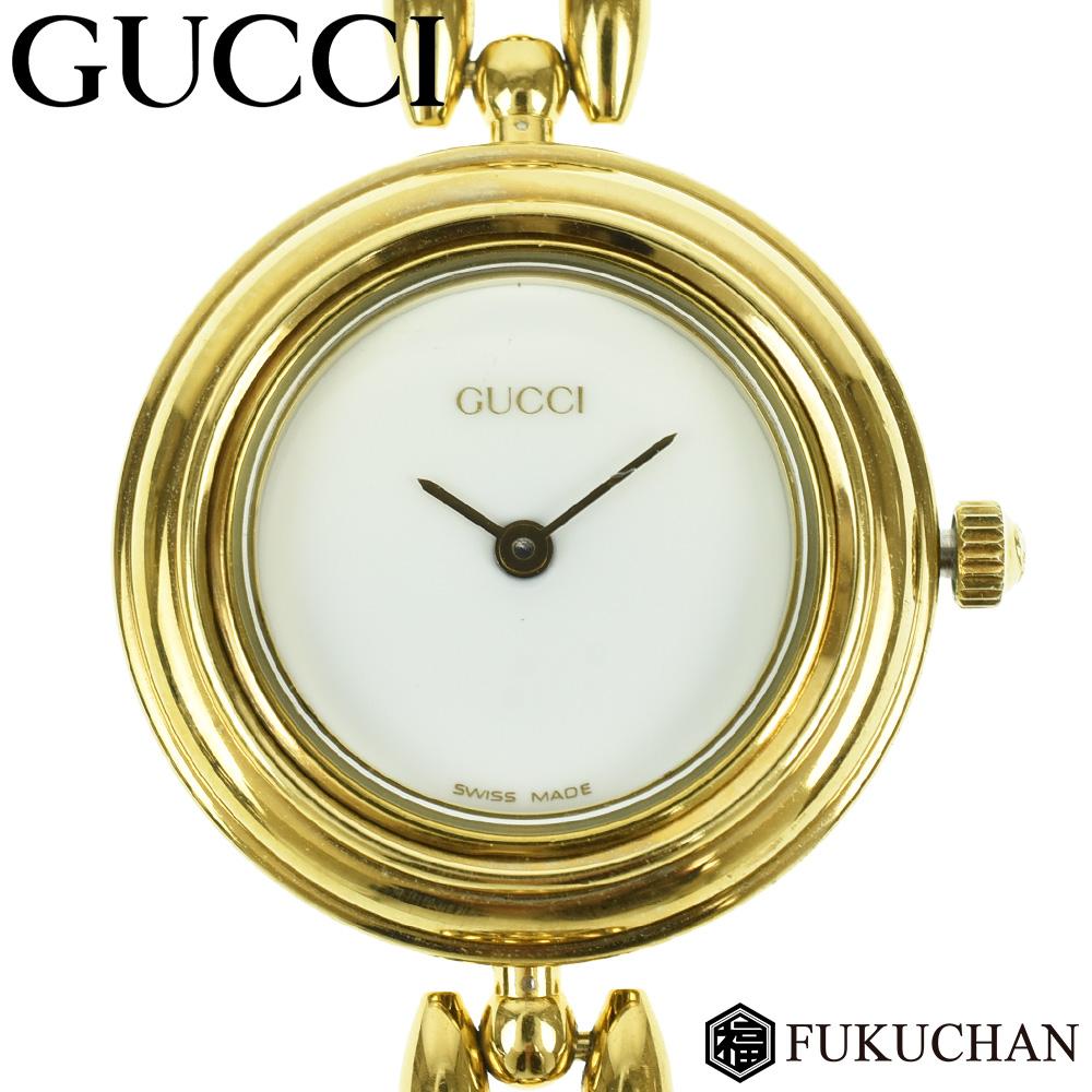 【GUCCI/グッチ】チェンジベゼル ウォッチ ゴールド×ホワイト文字盤 GP×プラスチック 11/12.2 【中古】