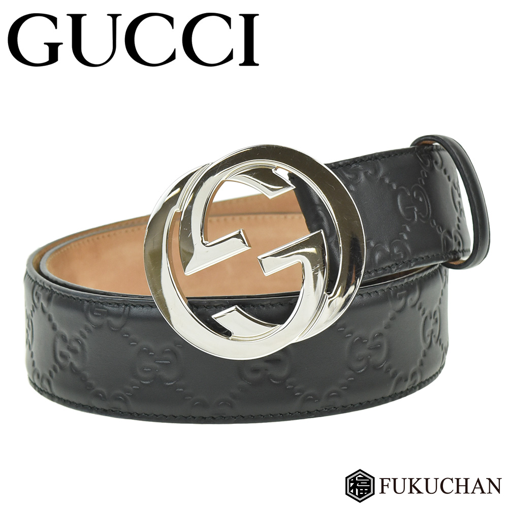 0238f28cfef Gucci signature leather belt black X silver metal fittings 411924 CWC1N  1000 ≪≫
