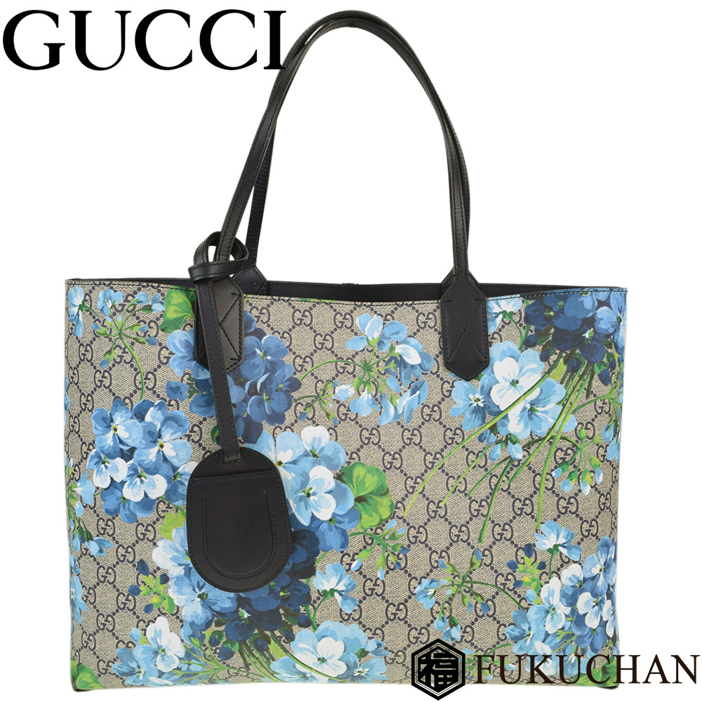 f6149bfe881 GG bloom reversible medium tote bag coating canvas X leather navy X blue  system 368568 ≪≫