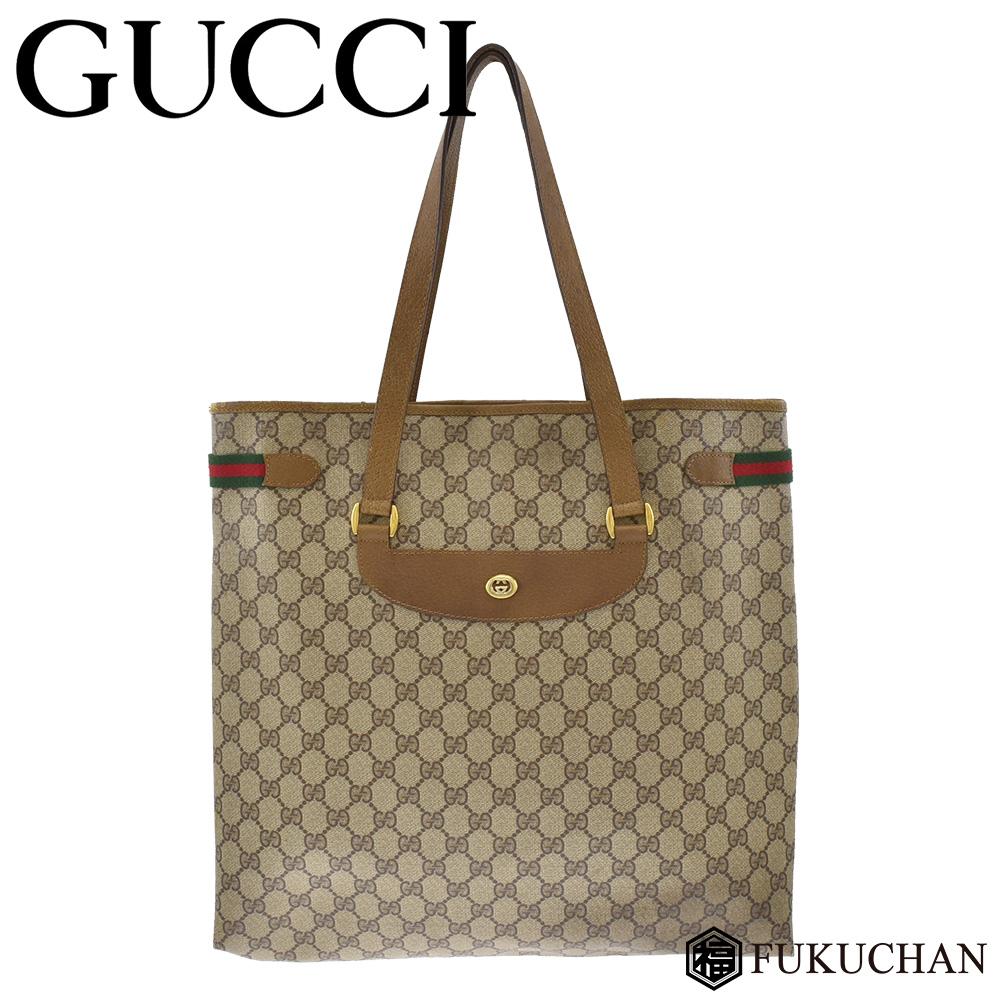 466cdcf56fec Old Gucci sherry line GG coating canvas tote bag beige X dark brown  39.02.091 ...