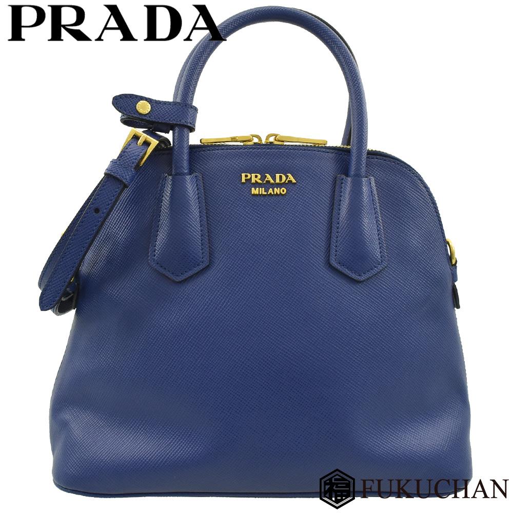 ◆50000円 → 39800円◆PRADA プラダ レザー 2way ハンドバッグ ブルー×ゴールド金具 【中古】≪送料無料≫