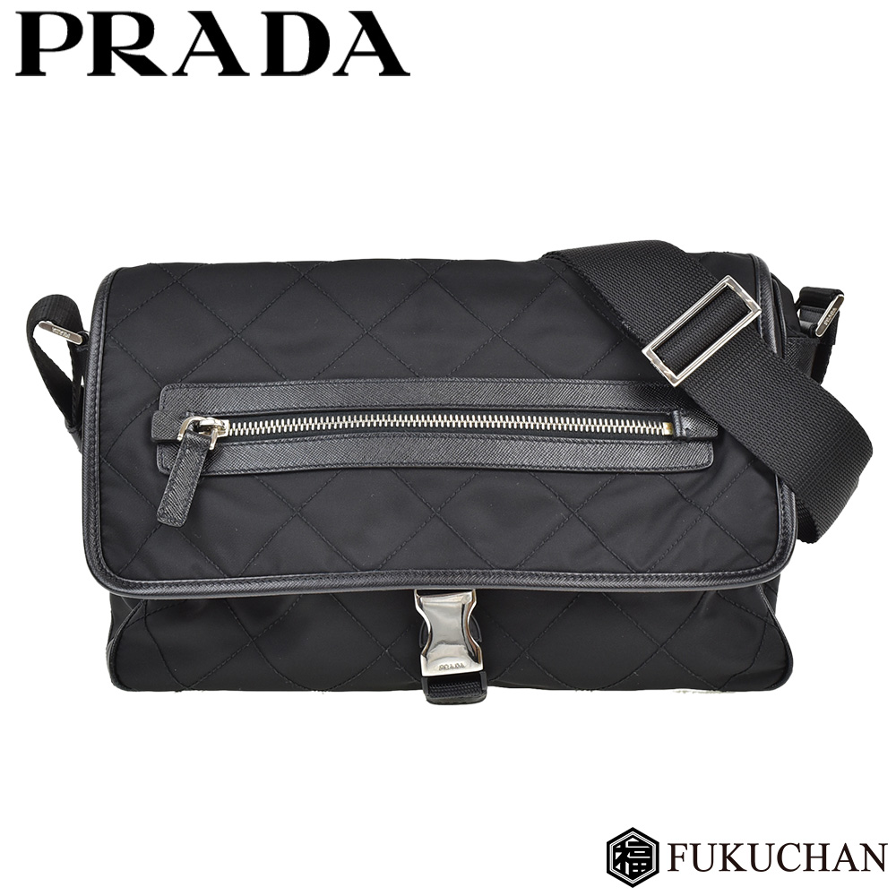 6211d1052ac8 Quilting shoulder bag NERO (black) X silver metal fittings TESSUTO (nylon)  X leather BT0422 ≪≫