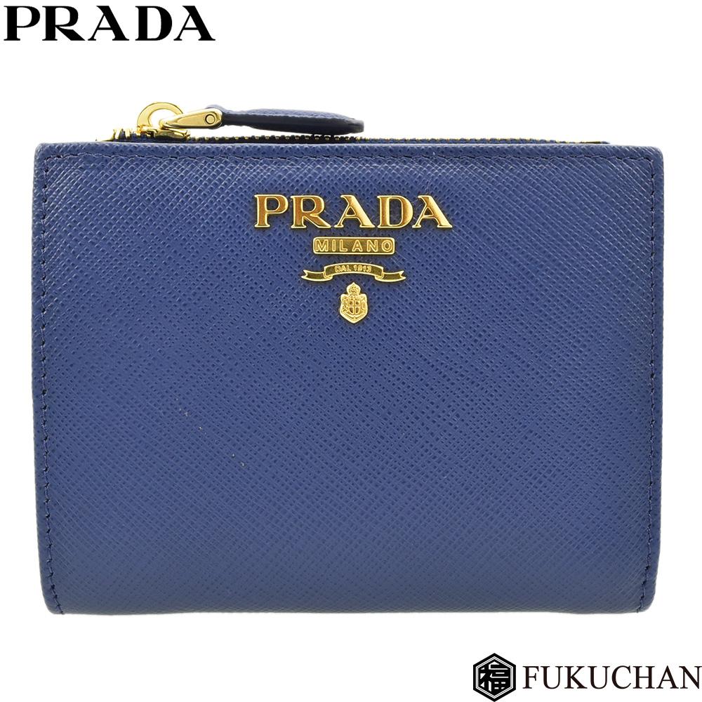 【PRADA/プラダ】SAFFIANO METAL サフィアーノメタル 二つ折り財布 BLUETTE(ブルー)×ゴールド金具 1ML023 【中古】