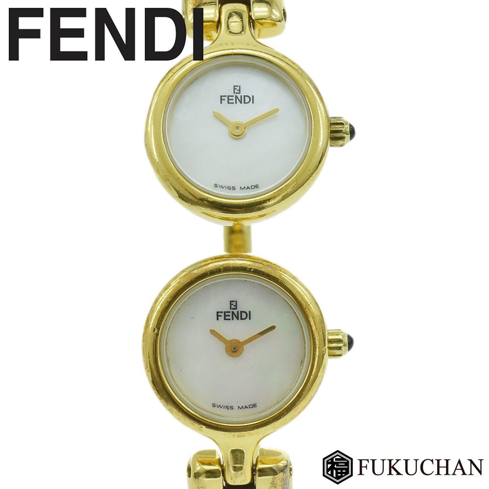 【FENDI/フェンディ】2タイムゾーン バングルウォッチ ゴールド×ホワイトシェル文字盤 GP/620L 【中古】