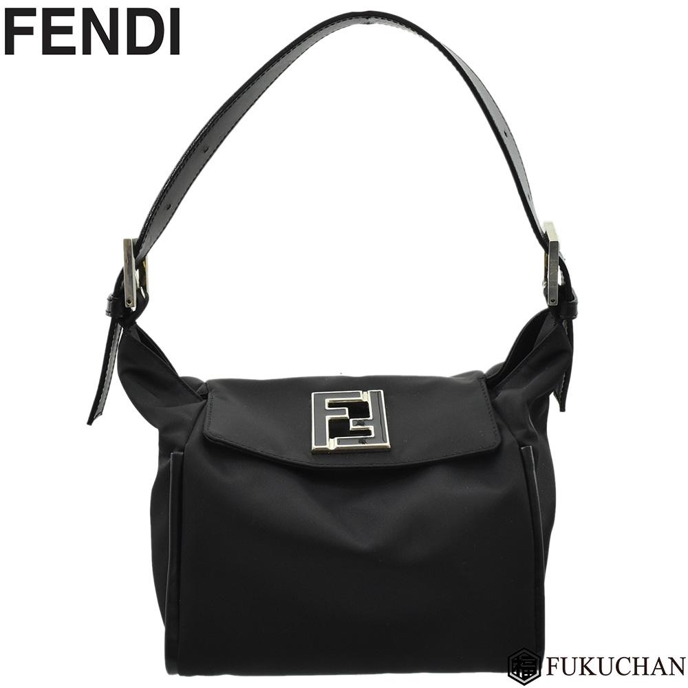 【FENDI/フェンディ】ロゴ ワンショルダーバッグ ショルダーポーチ ナイロンキャンバス ブラック×シルバー金具 【中古】