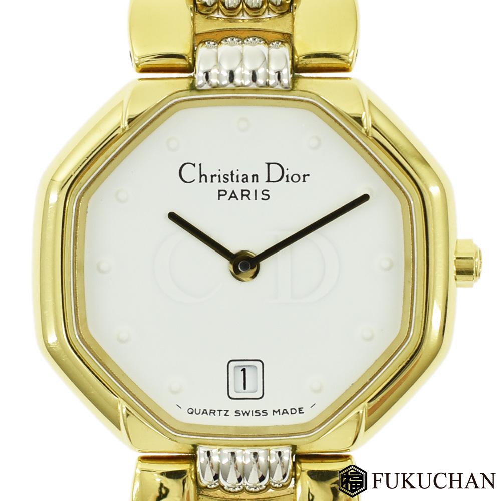 ◆26000円 → 23800円◆Christian Diorクリスチャンディオール スウィング ウォッチ レディース 腕時計 ゴールド×シルバー 白文字盤/48.133 【中古】
