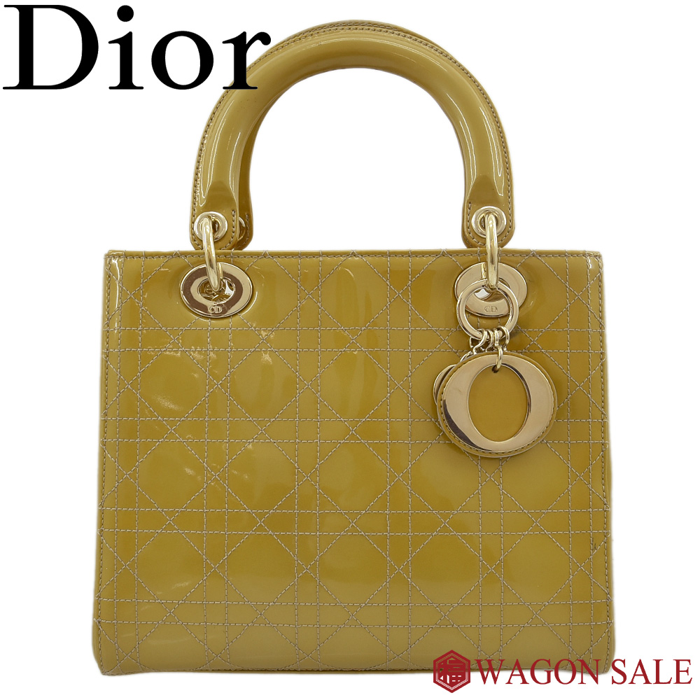 【Dior/ディオール】レディディオール カナージュ ハンドバッグ エナメルレザー/ゴールド系×ゴールド金具 MA-0028 【中古】≪送料無料≫