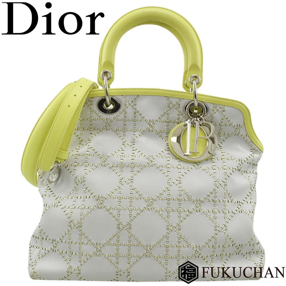 【Dior/ディオール】グランヴィル 2way ハンドバッグ ライムグリーン×グレー×シルバー金具 【中古】≪送料無料≫