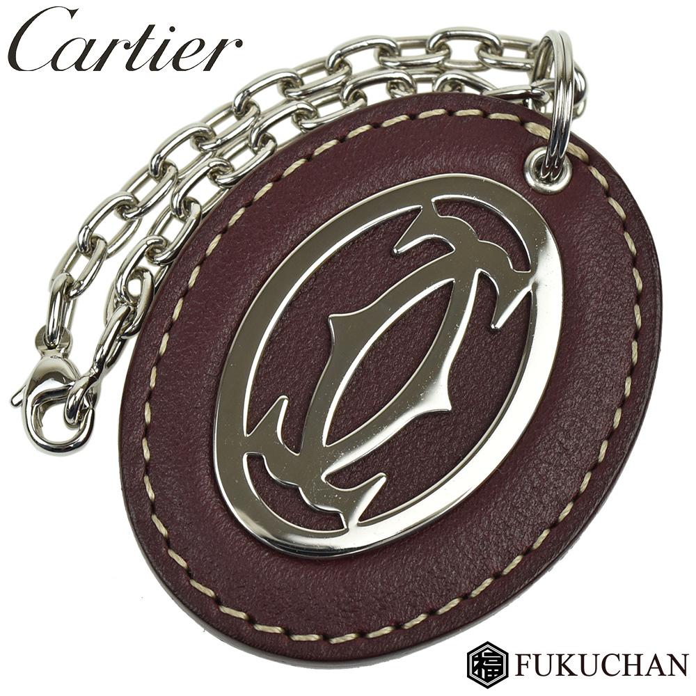 ◆ 24800 円 → 22000 円 ◆【Cartier/カルティエ】C ドゥ カルティエ キーリング/キーホルダー シルバー×ボルドー T1220241 【中古】