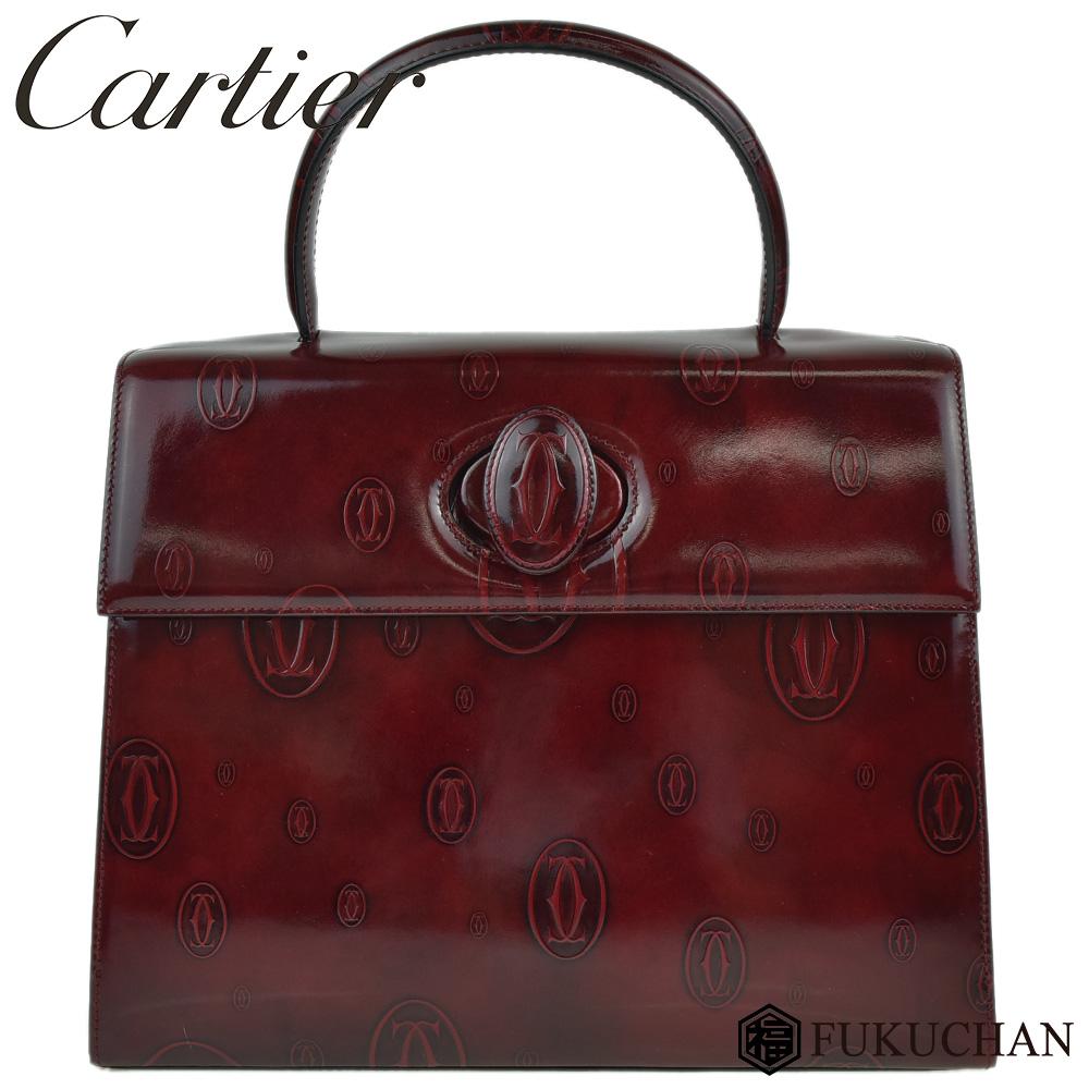 【Cartier/カルティエ】ハッピーバースデー ハンドバッグ レザー×ボルドー/L1000248 【中古】≪送料無料≫