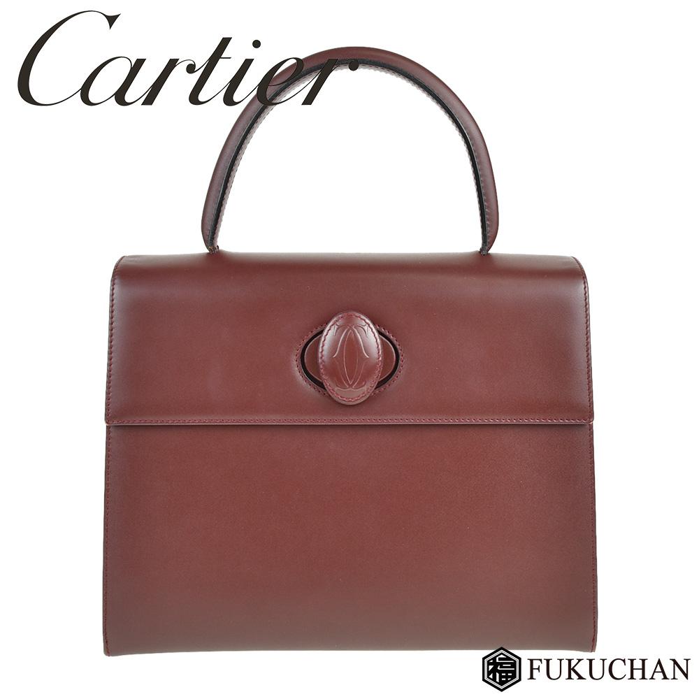 【Cartier/カルティエ】マストライン ハンドバッグ カーフレザー×ボルドー 【中古】≪送料無料≫