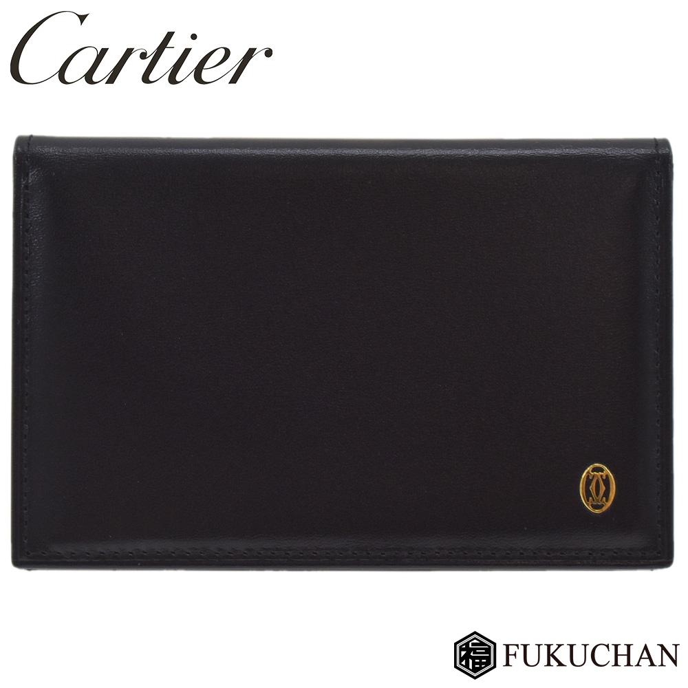 【Cartier/カルティエ】パシャ カードケース メンズ パスケース ブラック×ゴールド金具 カーフレザー/L3000132 【中古】