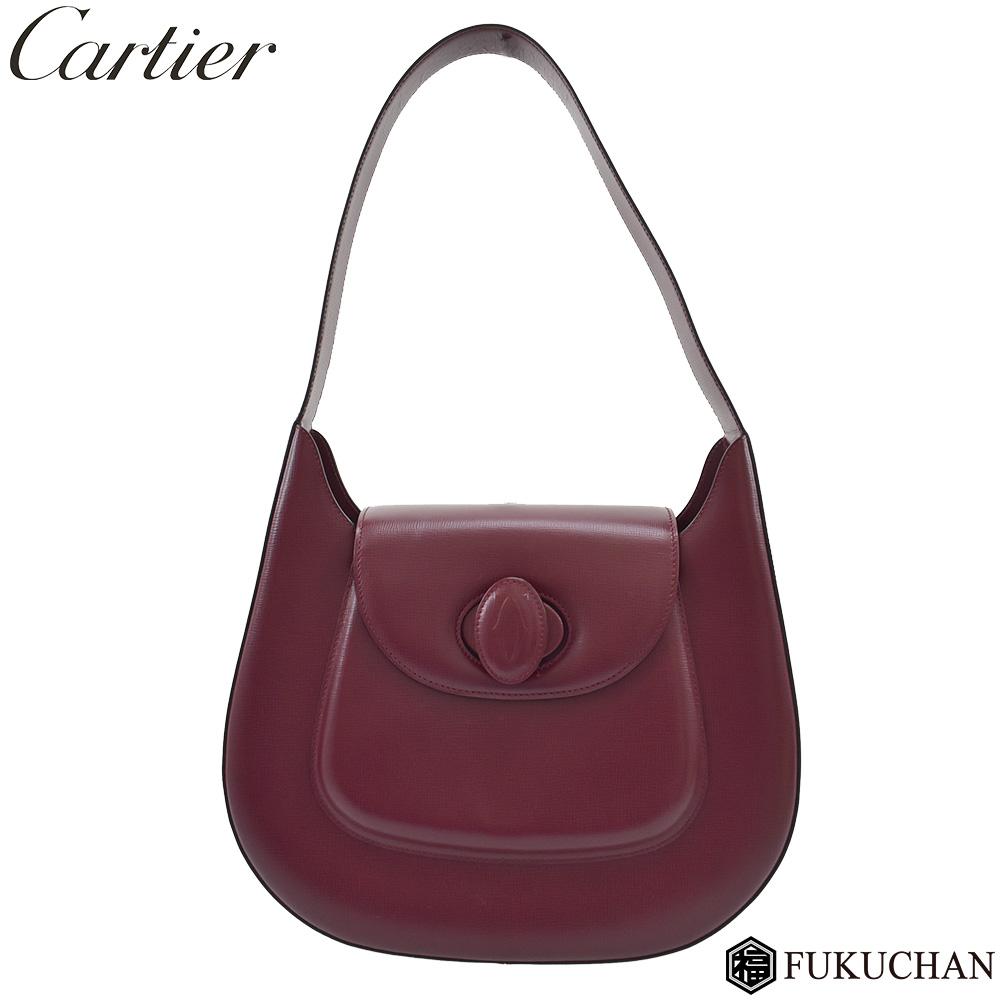 【Cartier/カルティエ】マストライン ショルダーバッグ カーフレザー×ボルドー L1000250 【中古】≪送料無料≫