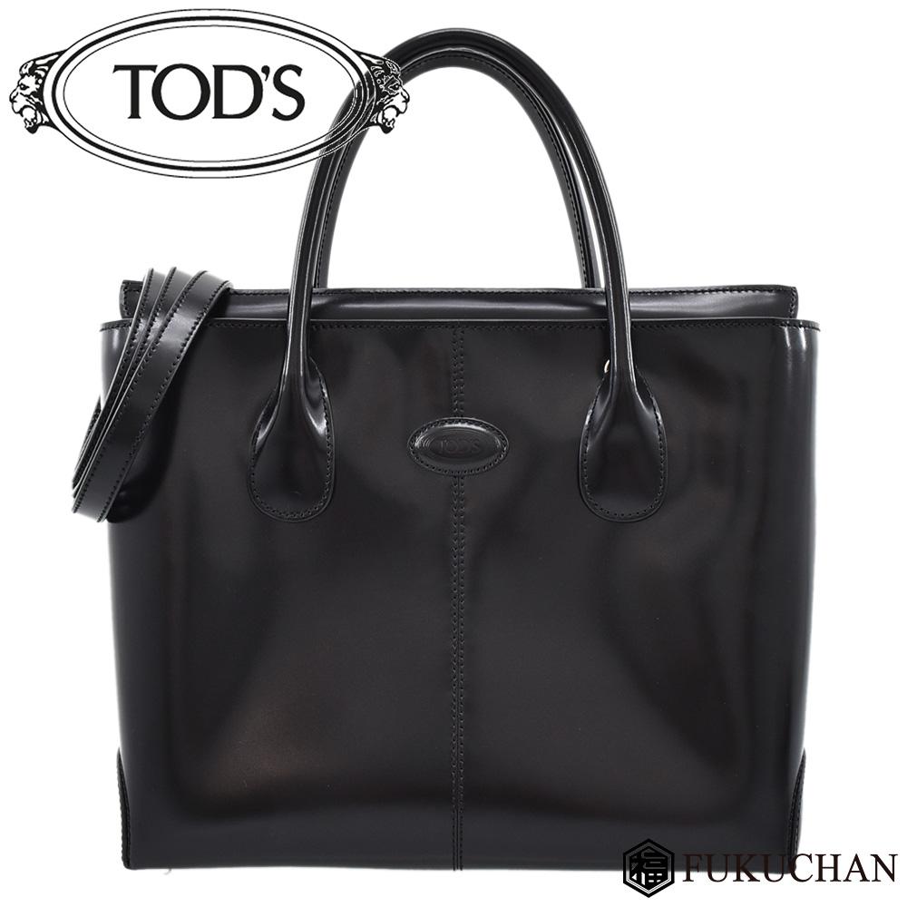 ◆24800円 → 21800円◆TOD'S トッズ 2way ハンドバッグ ブラック×シルバー金具 レザー【中古】