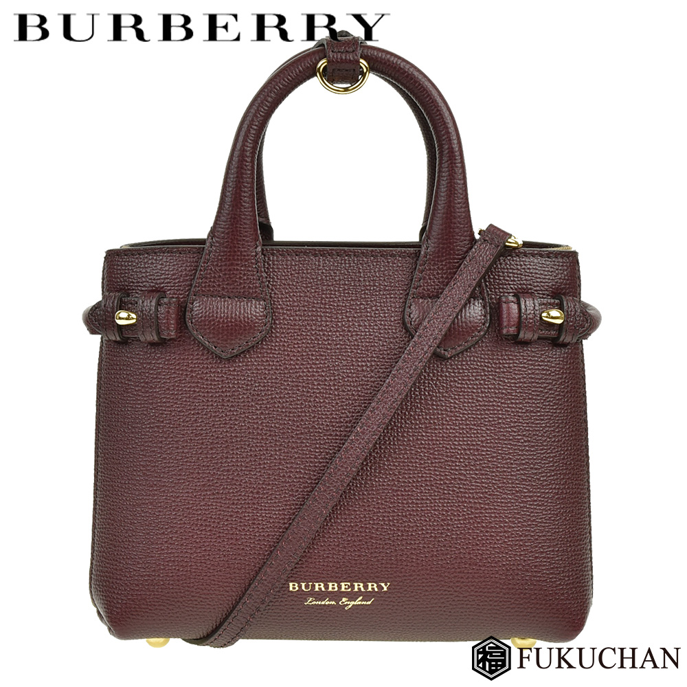 68de607c7e Baby banner in leather house check 2way shoulder bag mahogany red X gold  metal fittings calf ...