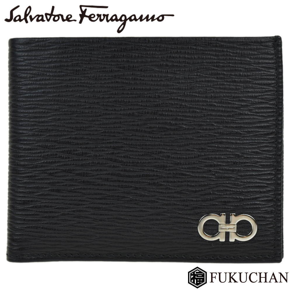 【Salvatore Ferragamo/サルヴァトーレ・フェラガモ】ガンチーニ 二つ折り財布 ブラック×レッド×シルバー金具/66A065 【中古】