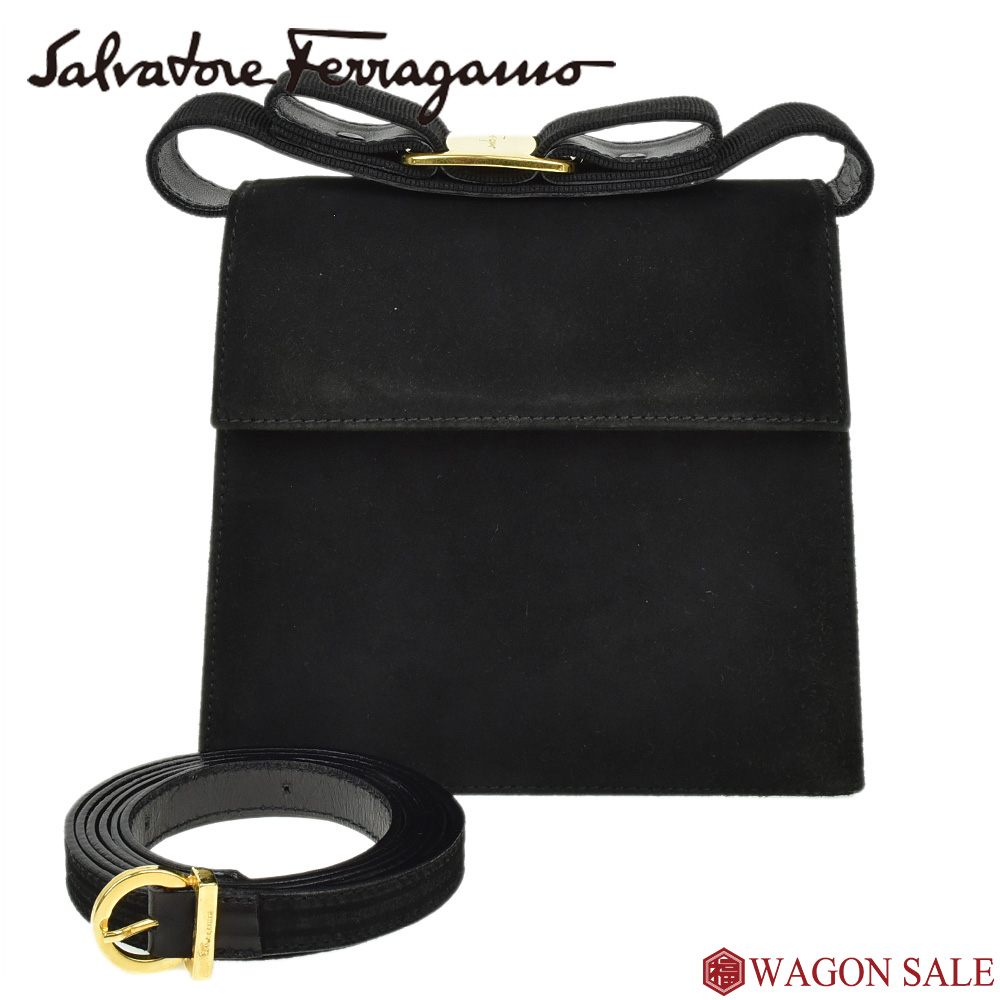 2caeaa7b0747 ヴァラリボン 2way shoulder bag black X gold metal fittings suede  BC213104 ≪≫