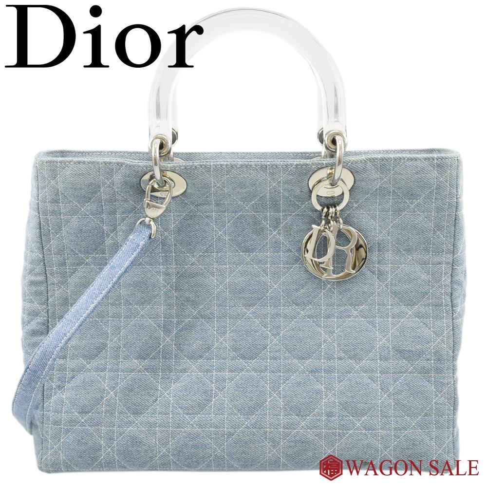 【Dior/ディオール】レディディオール カナージュ 2way ハンドバッグ デニム×プラスチック×シルバー金具 MA-1010 【中古】≪送料無料≫
